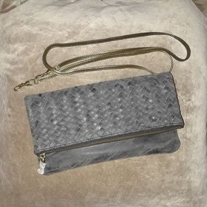 Anthropologie Foldover Deux Lux Clutch with chain